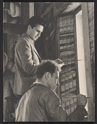 George Harris and Fred Olmstead working on Coit Tower mural