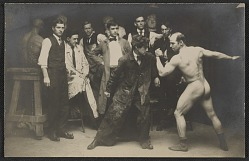 Art students posing with an artists' model