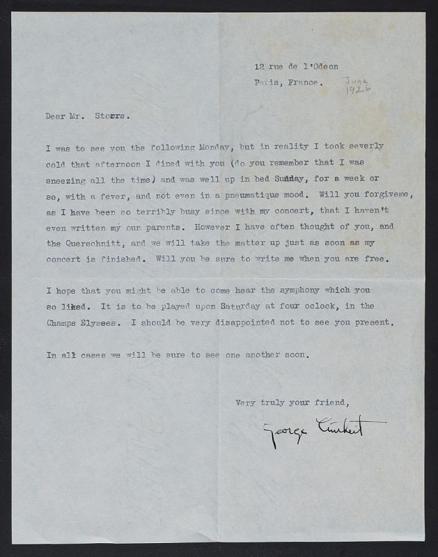 Image 1 for George Antheil letter to John Henry Bradley Storrs with enclosed broadside