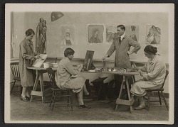 George Leslie Stout with Radcliffe students in class at the Fogg Art Museum