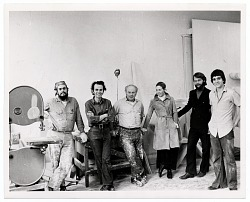 George Sugarman with artists and friends in his studio
