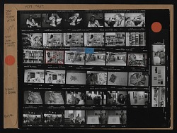 Contact sheet with images of Jane Dow, Robert St. John, Sam Gilliam in studio, and others