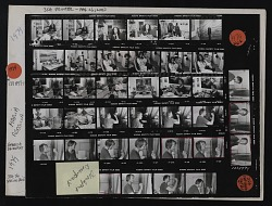 Contact sheet with images of Maria Da Conceicoa in studio and Rebecca Davenport in studio