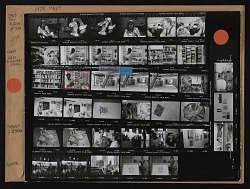 Contact sheet with images of Jane Dow, Sam Gilliam, Sam Dutters, and others