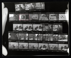 Contact sheet with images of William Christenberry in his studio, and others