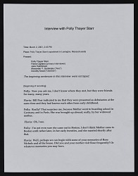 Transcript of interview with Polly Thayer Starr