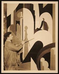 John Vassos painting a mural at WCAU radio station in Philadelphia