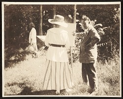 Edwin Ambrose Webster and a student in a plein-air painting class