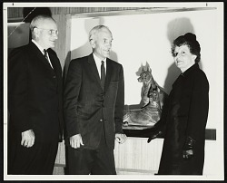 Katharine Lane Weems at the Museum of Science in Boston with the Museum's President, Erskine White, and the Museum's Director, Bradford Washburn