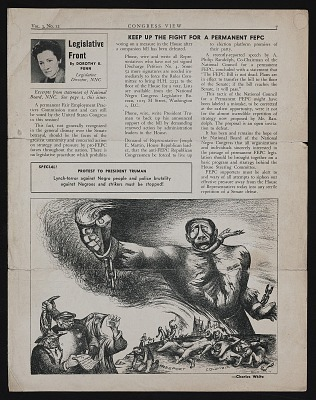 Charles White cartoon in <em>Congress View</em>