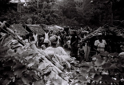 Field Work in the Western Region (Nigeria): Women Carrying Vegetables in Baskets and Large Enamelled Tinware