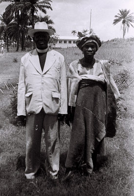 Field Work in Ibadan, Western Region (Nigeria): Reverend D. O. Togun of the Baptist Mission, and his Wife
