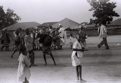 Field Work in the Western Region (Nigeria): Yoruba Musicians Performing Drums at a Community Festival