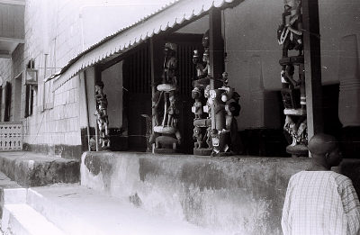 Field Work in Abeokuta, Western Region (Nigeria): Standing Wood Sculptures at the Old Palace of Oba Sir Ladapo Ademola II, the Alake of Abeokuta