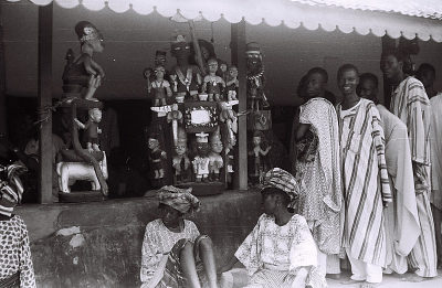 Field Work in Abeokuta, Western Region (Nigeria): Standing Wood Sculptures at the Old Palace of Oba Sir Ladapo Ademola II, the Alake of Abeokuta