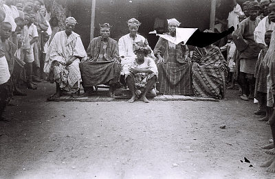 Field Work in the Western Region (Nigeria): Portrait of Yoruba Elderly Men, Probably Head Chief and Prominent Men of a Village