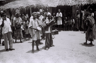 Field Work in the Vicinity of Ondo, Western Region (Nigeria): Musicians Accompanying Ritual Performance Including Omolu (also Called Obaluaye, Soppona, or Babaluwaye), God of Smallpox and Infectious Disease