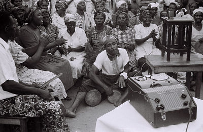 Field Work in Big Qua Town, Calabar, Eastern Region (Nigeria): Wire Recording Session of a Wedding Ceremony among the Qua Clan: Women Chanting, Handclapping and Drumming