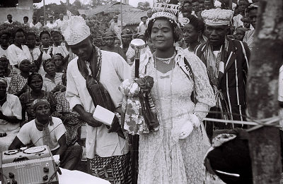 Field Work in Big Qua Town, Calabar, Eastern Region (Nigeria): Wire Recording Session of a Wedding Ceremony Attended by Ntoe Ika Ika Oqua II, Paramount Ruler of the Qua Clan: the Bride Surrounded by Women Chanting, Handclapping and Drumming