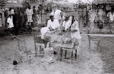 Field Work in Big Qua Town, Calabar, Eastern Region (Nigeria): Wire Recording Session of a Traditional Music Band (double exposure)