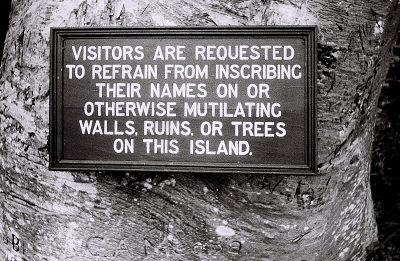 Field Work in Bunce Island, Sierra Leone: Sign before Entering the British Slave Castle