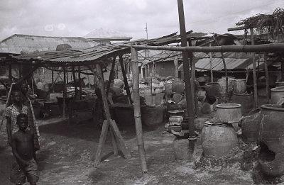 Field Work in Ibadan, Western Region (Nigeria): Large Indigo Dye Pots Used to Create Adire Clothes