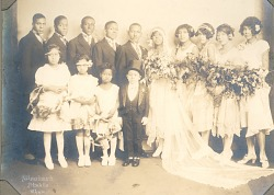 J.W. (James Williams) Lucus and Ethel Minns Lucus pose with their wedding party