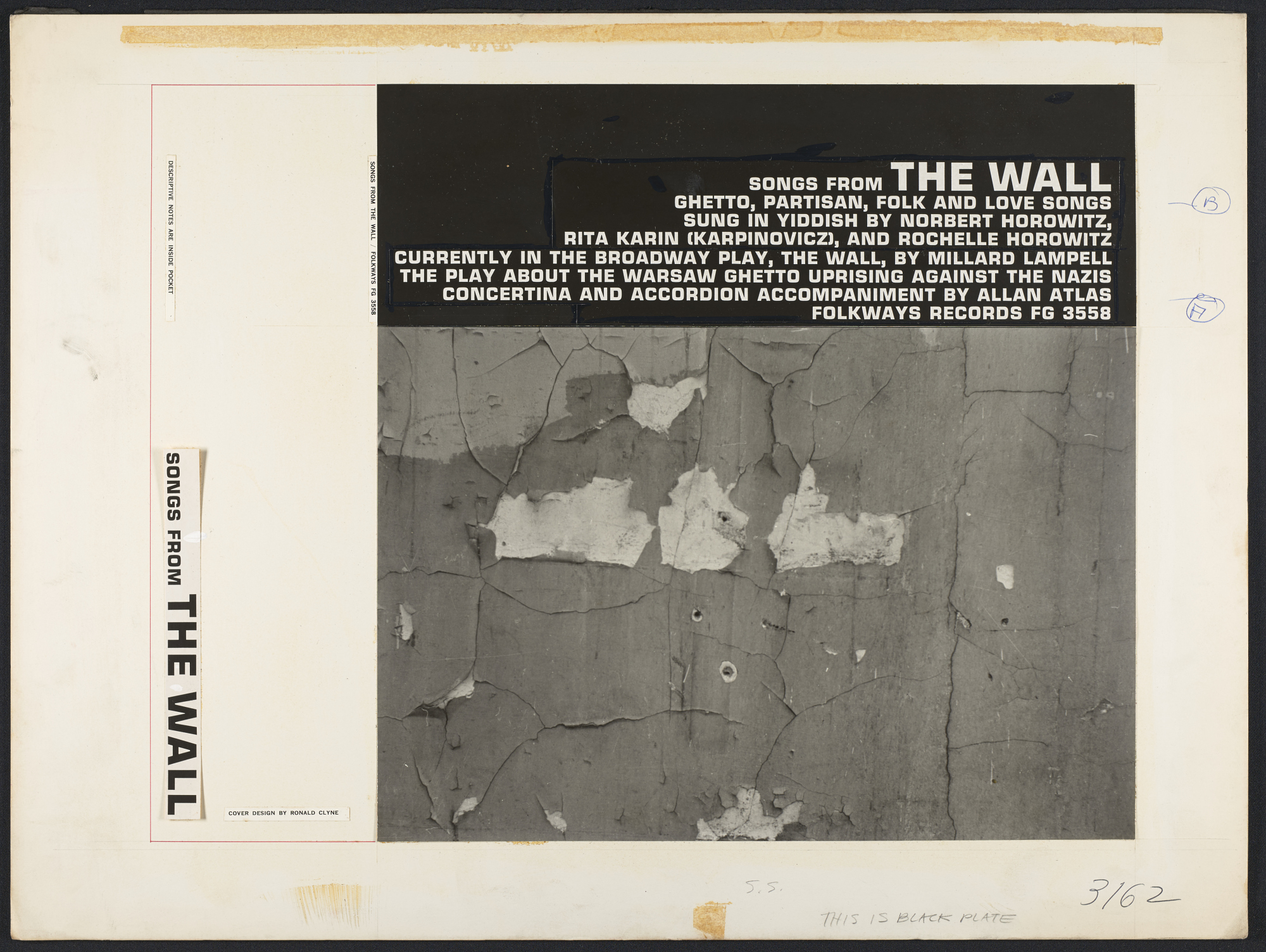 Songs from The Wall [sound recording] : ghetto, partisan, folk and love songs / sung by Norbert Horowitz, Rita Karin, Rochelle Horowitz