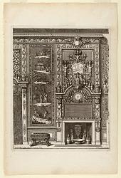 """Design for a Chimney Wall with Lacquered Panels and Porcelain from """"Nouvelles Chiminees Faittes en Plusieur en Droits de la Hollande et Autres Provinces du Dessin de D. Marot"""""""
