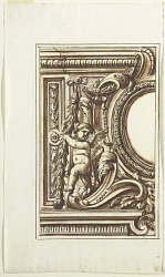 One of a set of twelve projects for the decoration of a wall to be placed at a height. Preceded by a title page.