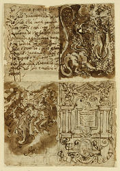 Recto, above left: Passage regarding the Woman of the Apocalypse, from the Book of Revelation; Recto, above right: Woman of the Apocalyse; Recto, below left: Frontispiece to print series of the Life of the Virgin; Recto, below right: Coronation of the Virigin; Verso, left: A Buffet; Verso, right: Saint George and the Dragon