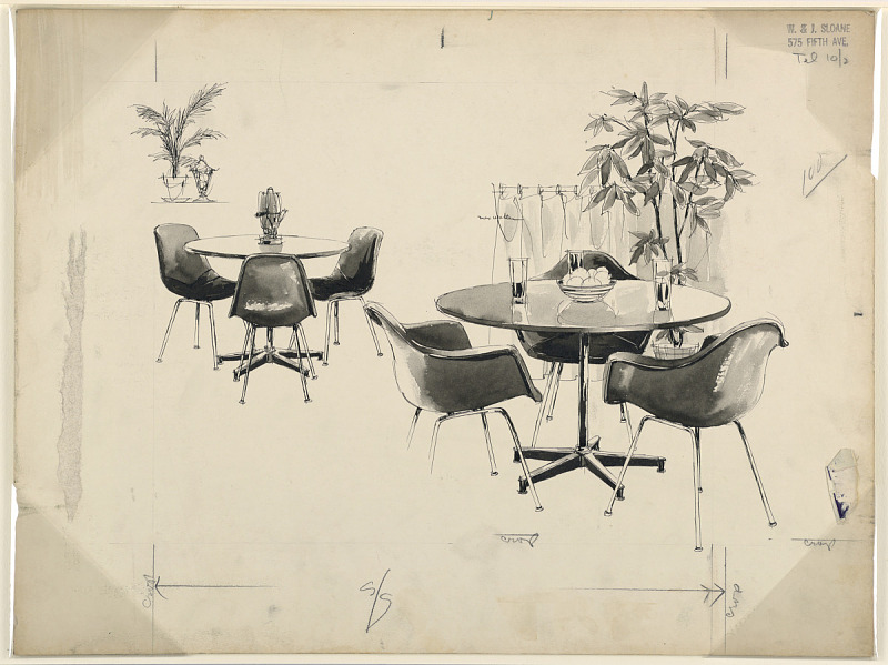 Image for Drawing for Advertising, table and molded chairs