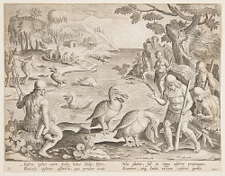 Indians Catching Fish with the Help of Pelicans, plate 23 in the Venationes Ferarum, Avium, Piscium series