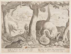 Fight between Elephants and Snakes, plate 2 from the Venationes Ferarum, Avium, Piscium series