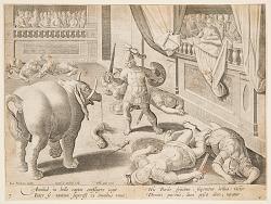 A Roman Soldier Fighting one of Hannibal's Elephants, pl. 7 in the Venationes Ferarum, Avium, Piscium series