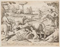 Buffalo Hunt, plate 27 in the Venationes Ferarum, Avium, Piscium series