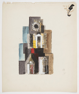 Study of an Abstract Composition with Pedimented Buildings