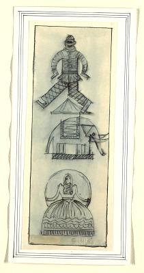 Decorative Design with Clown, Elephant, and Ballerina