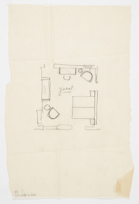 Design for Guest Room Layout, Harold S. Anderson House, 737 Sarbonne Road, Bel Air, CA