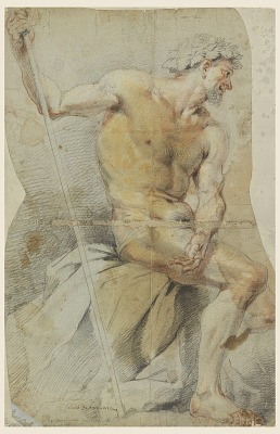 Study of a nude elderly man, Bacchus or one of his companions