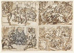 Recto, above and below left, and Verso, below left: Three studies for Theagenes taming the Bull in Ethiopia; Recto, above and below right: A Dragon Hunt in India;Verso, above right: Birth of the Virgin (preparatory for an altarpiece at San Piero, Careggi (Florence); Verso, below left: A Pilgrim before an Altar to Mercury; Verso, above left: inscription bearing the address of the Sadeler brothers in Venice