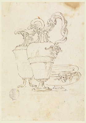 Sheet of a Drawing Book: Two Pitchers and Bowl