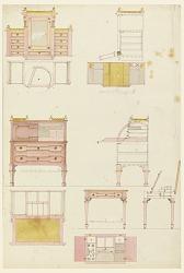 Designs for Mechanical Furniture: Wardrobe, Desk and Dressing Table