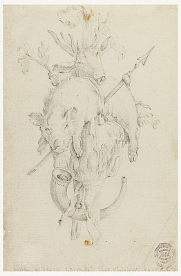 Design for a Snuff Box Cover (verso); Trophy of Hunting (recto)