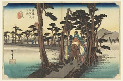 Yoshiwara, Fuji, Rear View, in The Fifty-Three Stations of the Tokaido Road (Tokaido Gojusan Tsugi-no Uchi)
