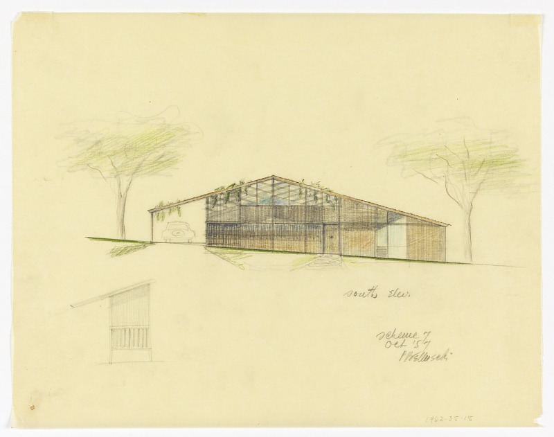 Image 1 for South Elevation of a Split-Level House to be Erected in Palo Alto, California