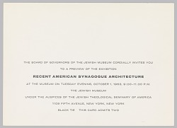 "Invitation, Exhibition Preview, ""Recent American Synagogue Architecture,"" The Jewish Museum, New York, NY"