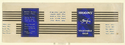 Design for Product Label, Higgins' Vegetable Glue