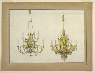 Design for Two Gilt Bronze Chandeliers