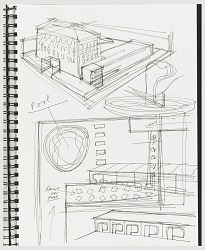 Page 15, Design for Facade and Pool, Semiramis Hotel, Athens, Greece from Sketchbook with Designs for Semiramis Hotel and Other Objects